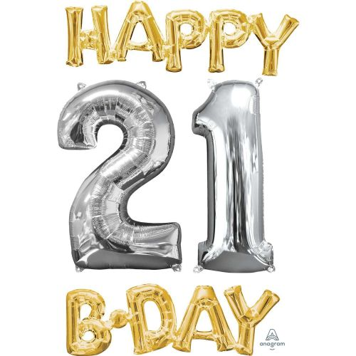 """Happy 21 B-Day"" Phrase & Number Bunch"